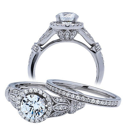 Art Deco Moissanite Ring Bridal Set Matching Band 2.50 Carat on 10k White Gold