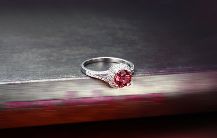 1 Carat Round cut Red Ruby and Moissanite Diamond Halo Engagement Ring in White Gold for Women