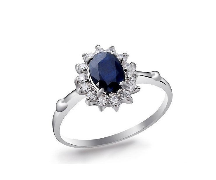 1 Carat Sapphire Engagement Ring on 10k White Gold