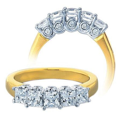 Moissanite Engagement Ring 2.00 Carat Five Stone Princess Moissanite Diamond and for Her in Sterling Silver with Yellow Gold Plating