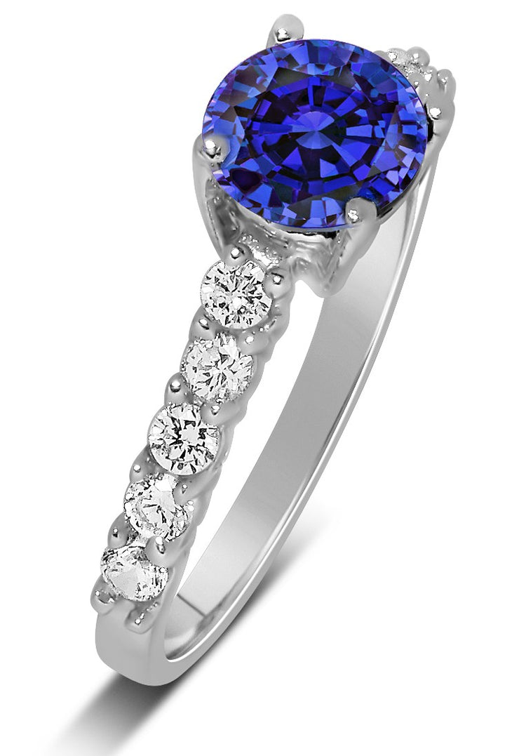 1 Carat Vintage Round cut Blue Sapphire and Moissanite Diamond Engagement Ring in Gold