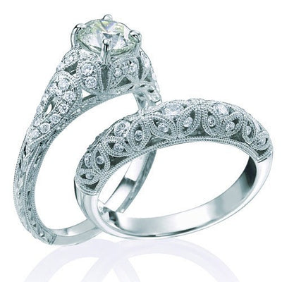 Moissanite Wedding Ring Vintage 2.50 Carat Round cut Moissanite Diamond Set on 10k White Gold