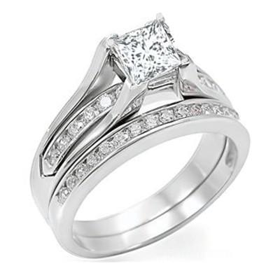2.00 Carat Princess cut Moissaniate Ring Bridal Set