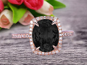 1.50 Carat Big Black Diamond Moissanite Engagement Ring Wedding Ring in 10k Rose Gold Halo Design Art Deco Personalized for Brides