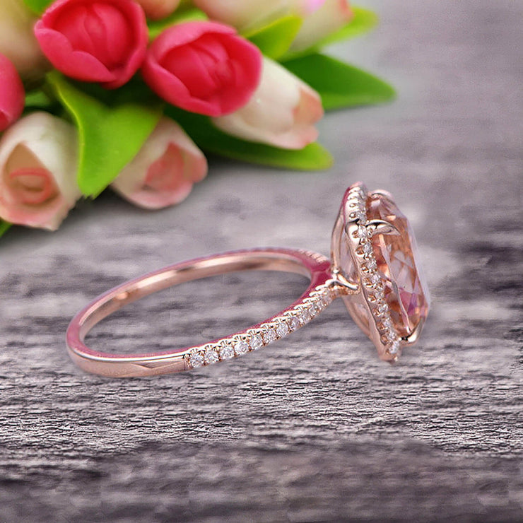 1.50 Carat Big Morganite Engagement Ring Wedding Ring in 10k Rose Gold Halo Design Art Deco Personalized for Brides