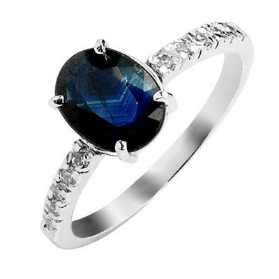 1.30 Carat Sapphire Engagement Ring on 10k White Gold