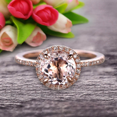 Round Cut 1.50 Carat Morganite Engagement Ring Wedding Ring On 10k Rose Gold Halo Art Deco Anniversary Gift