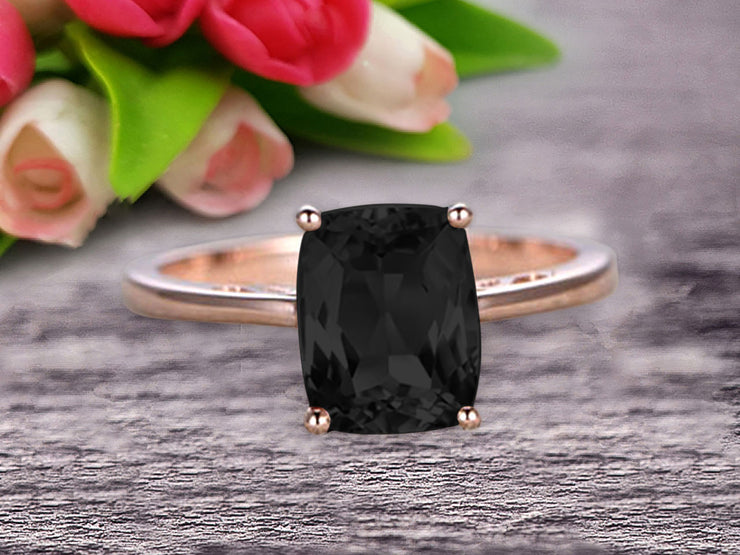 Cushion Cut 1 Carat Black Diamond Moissanite Engagement Ring Wedding Ring Promise Ring 10k Rose Gold Solitaire Anniversary Ring