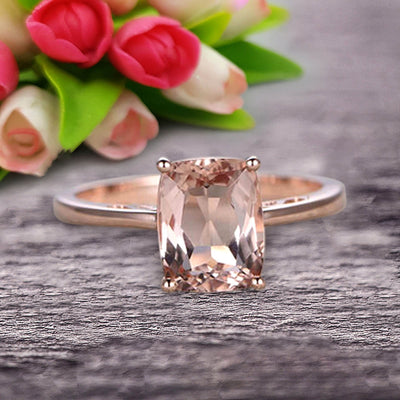 Cushion Cut 1 Carat Morganite Engagement Ring Wedding Ring Promise Ring 10k Rose Gold Solitaire Anniversary Ring