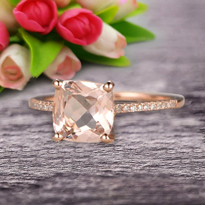 Cushion Cut 1.50 Carat Morganite Engagement Ring Wedding Ring 10k Rose Gold Unique Basket Prongs