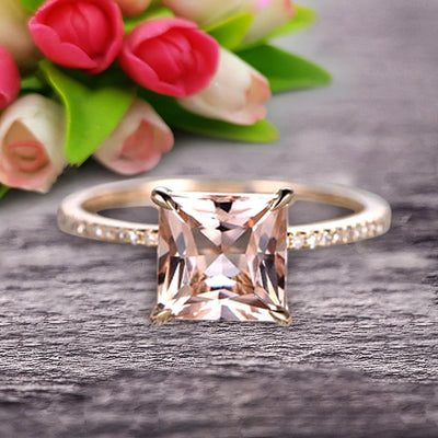 1.25 Carat Princess Cut Morganite Engagement Ring Wedding Ring 10k Yellow Gold Curved Basket Claw Prongs Art Deco Anniversary Ring