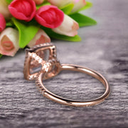 1.75 Carat Cushion Cut Morganite Engagement Ring Wedding Ring Promise Ring 10k Rose Gold Claw Prong Stacking Band Anniversary Gift
