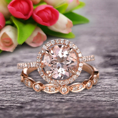 Milgrain 1.75 Carat Round Cut Morganite Wedding Set Engagement Bridal Ring 10k Rose Gold Marquise Matching Band
