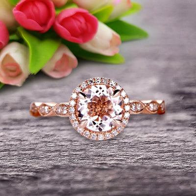 1.50 Carat Round Cut Gemstone Morganite Engagemrnt Ring Pink Morganite Ring On 10k Rose Gold Promise Ring
