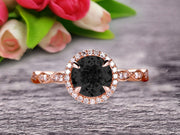 1.50 Carat Round Cut Gemstone Black Diamond Moissanite Engagemrnt Ring Pink Black Diamond Moissanite Ring On 10k Rose Gold Promise Ring