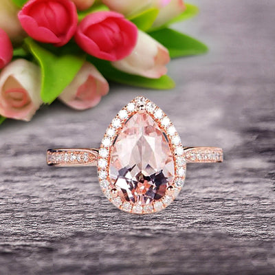 Pear Shape 1.50 Carat Morganite Engagement Ring On 10k Rose Gold Halo Wedding Anniversary Promise Bridal Eternity Ring
