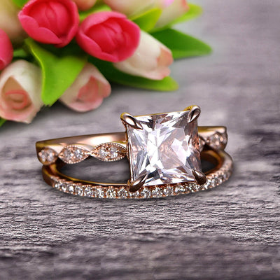 1.50 Carat Princess Cut Morganite 10k Rose Gold Wedding Set Engagement Ring Art Deco Stacking Matching Wedding Band