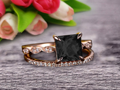 1.50 Carat Princess Cut Black Diamond Moissanite 10k Rose Gold Wedding Set Engagement Ring Art Deco Stacking Matching Wedding Band
