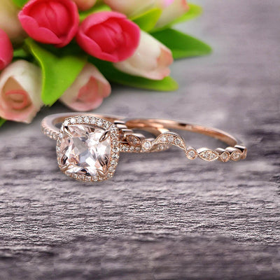 Milgrain 1.75 Carat Cushion Cut Morganite Wedding Set Diamond Moissanite Bridal Ring 10k Rose Gold Curved Matching Band Art Deco
