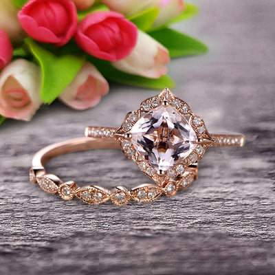 Imaginative Bridal Set Cushion Cut 1.75 Carat Morganite Wedding Set Engagement Ring 10k Rose Gold Retro Vintage Floral Marquise Matching Band