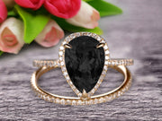 Bridal Ring Pear Shape 1.75 Carat Black Diamond Moissanite Wedding Ring Set Engagement Ring 10k Yellow Gold Claw Prong Halo Matching Band Vintage looking