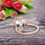 Bridal Ring Pear Shape 1.75 Carat Morganite Wedding Ring Set Engagement Ring 10k Yellow Gold Claw Prong Halo Matching Band Vintage looking