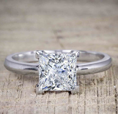 Best seller 1 Carat Princess cut Moissanite Solitaire Engagement Ring