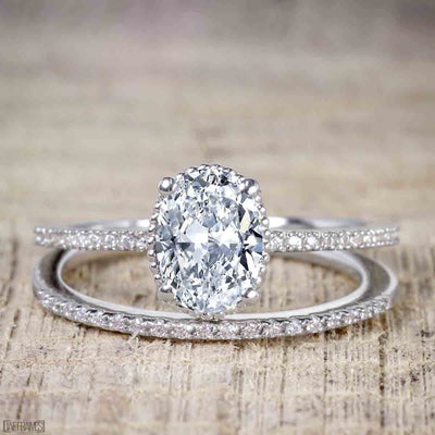 Art Deco 1.25 Carat Oval cut Moissanite and Diamond Wedding Ring Set