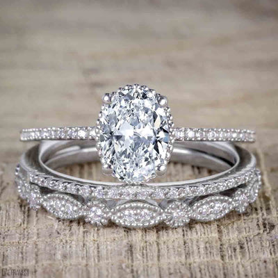 1.50 Carat Oval cut Moissanite & Diamond Trio Wedding Set 10k White Gold
