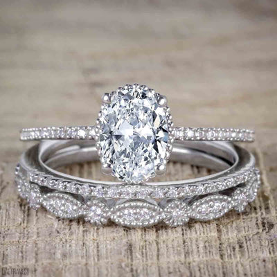 1.50 Carat Oval cut Moissanite & Diamond Trio Wedding Set