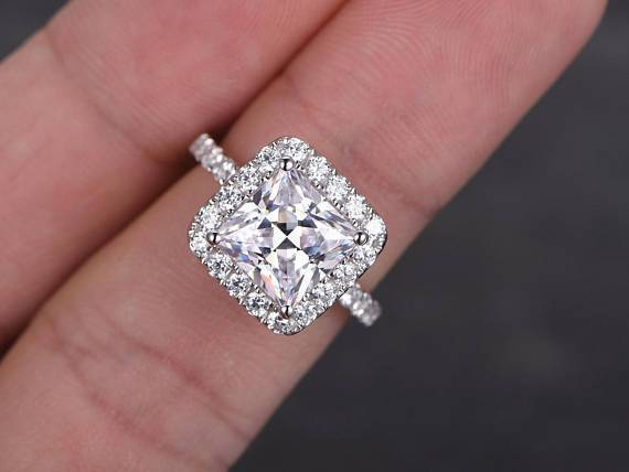 Art Deco 1.50 Carat Halo Moissanite & Diamond Engagement Ring