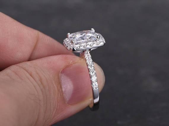 Art Deco 1.50 Carat Halo Moissanite & Diamond Engagement Ring in White Gold