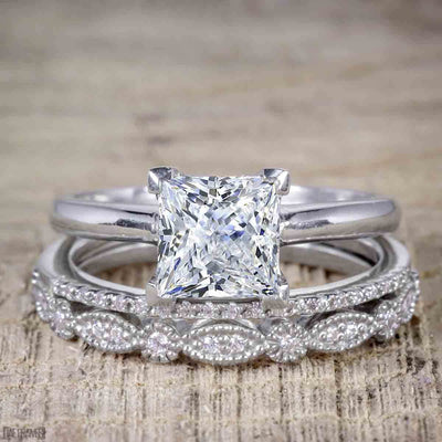 1.50 Carat Moissanite and Diamond Trio Bridal Ring Set
