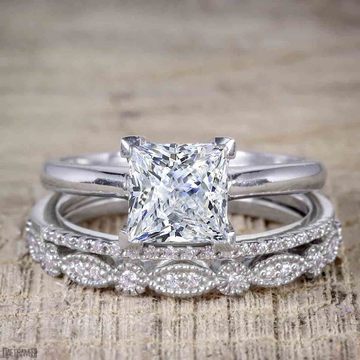 1.50 Carat Moissanite and Diamond Trio Bridal Ring Set in 10k White Gold