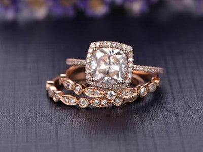 2 Carat Cushion Moissanite and Diamond Trio Wedding Set