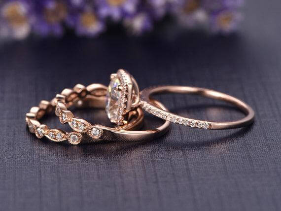 2 Carat Cushion Moissanite and Diamond Trio Wedding Set in Rose Gold