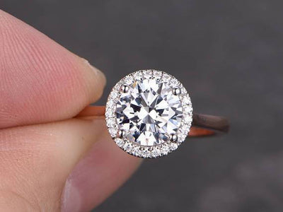 Best Seller 1.25 Ct Halo Round cut Moissanite & Diamond Ring in White Gold