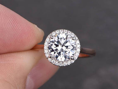 Best Seller 1.25 Ct Halo Round cut Moissanite & Diamond Ring