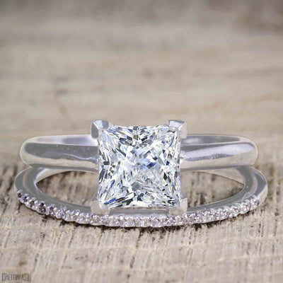 Art Deco 1.25 Carat Moissanite and Diamond Bridal Set in 10k White Gold