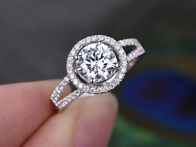 Unique 1.50 Ct Round cut Halo Moissanite and Diamond Wedding Ring in White Gold