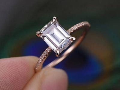 1.25 ct Moissanite & Diamond Engagement Ring in Semi Eternity