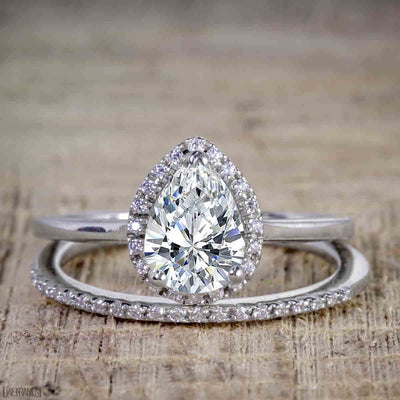 2 Carat Pear cut Moissanite and Diamond Halo Wedding Ring Set in White Gold