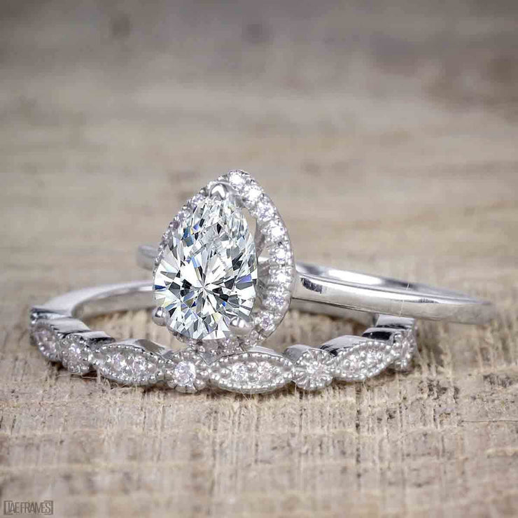 2 Carat Pear cut Moissanite and Diamond Halo Wedding Ring Set