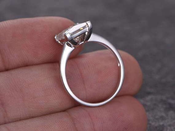 1 Carat Solitaire Moissanite Wedding Ring in 10k White Gold for her