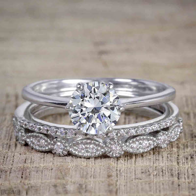 1.50 Carat Moissanite and Diamond Trio Wedding Bridal Ring Set in White Gold