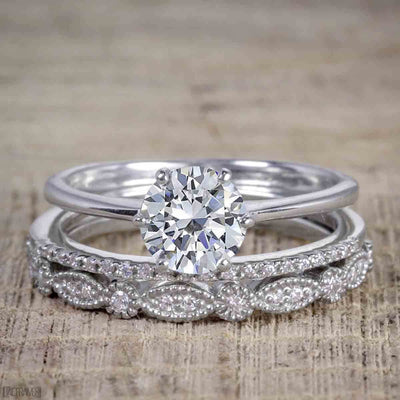 1.50 Carat Moissanite and Diamond Trio Wedding Bridal Ring Set