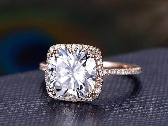 1.50 Carat Halo Moissanite and Diamond Wedding Ring in 10k Rose Gold