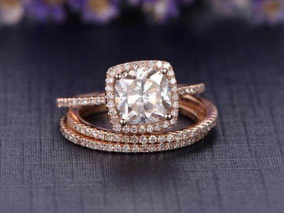 2 Carat Moissanite Halo Diamond Trio Ring Set on Sale