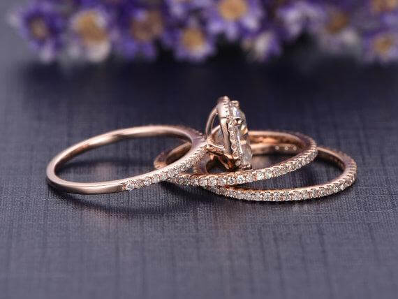 2 Carat Moissanite Halo Diamond Trio Ring Set in 10k Rose Gold on Sale