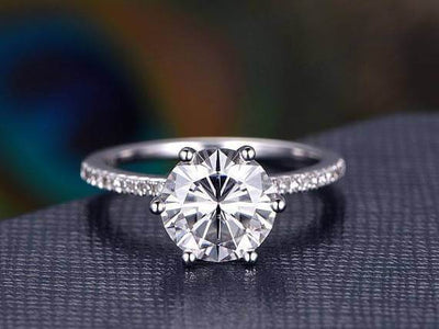 1.25 Carat Round Cut Moissanite and Diamond Engagement Ring